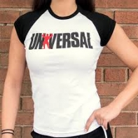 Univ Ladies Baby Tee BlackAndWhite
